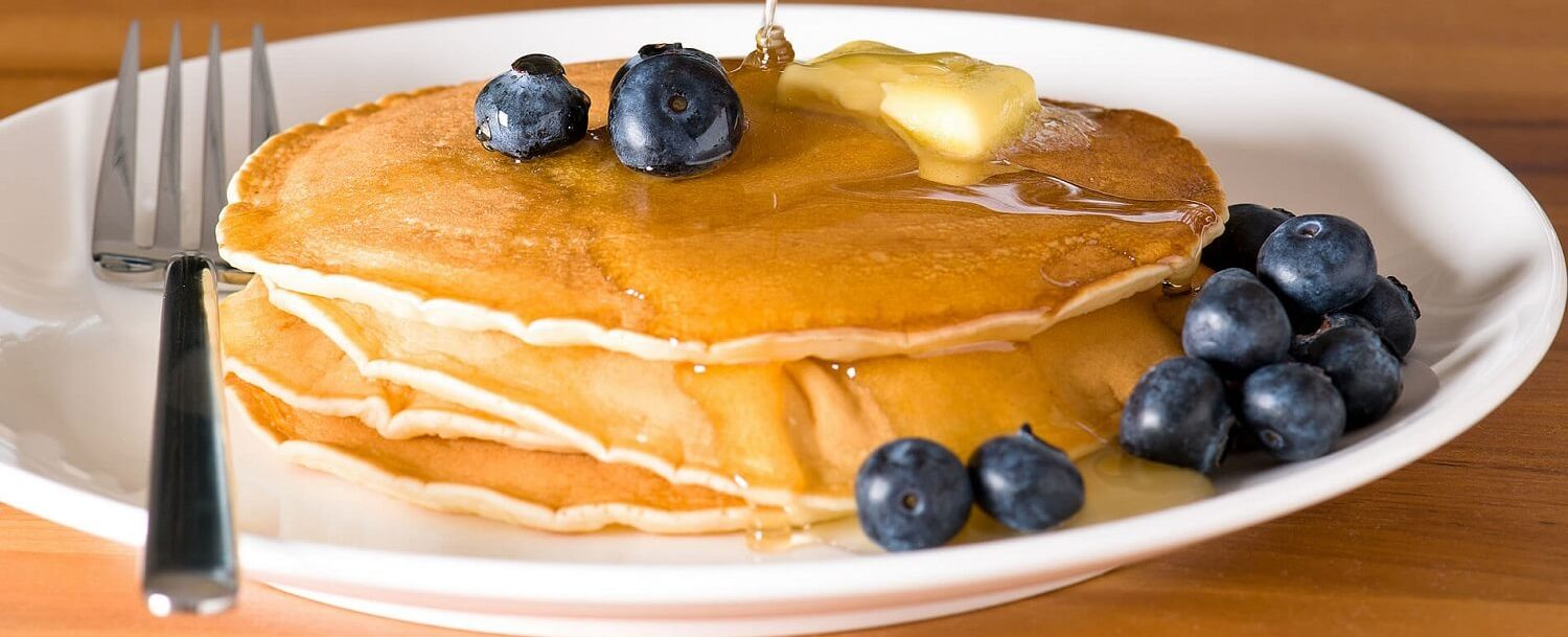 blueberry pancakes breakfast maple syrup