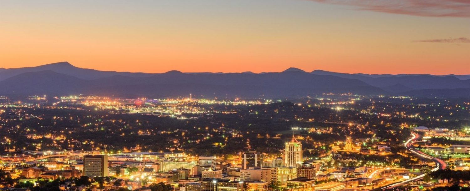 View of Roanoke, VA, one of the best day trips from Natural Bridge