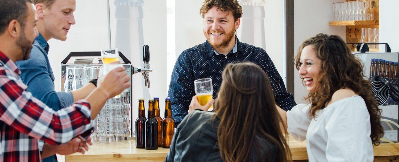 Friends tasting beers at one of the breweries near Natural Bridge, VA