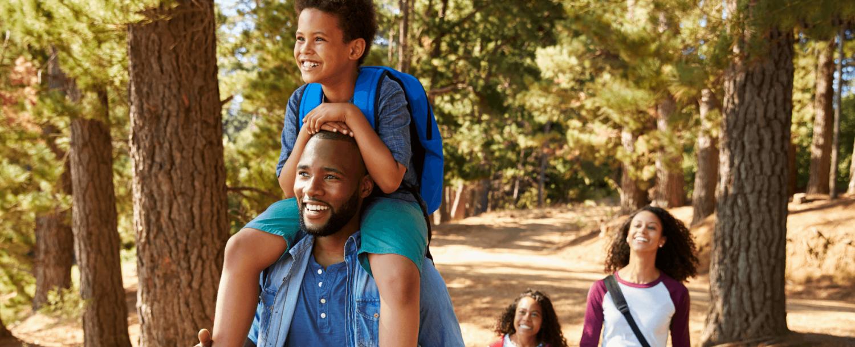 Family enjoying a hike during summer in Virginia's Blue Ridge