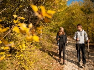 Couple hiking during fall